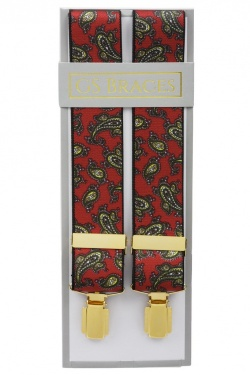 Red Mens Trouser Braces with Large Paisley Design - Available in 3 Sizes